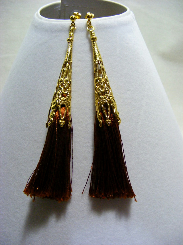 Brown and Gold Tassel Earrings