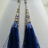 Dark Blue Tassel and Silver Earrings