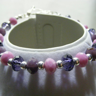 Purple and Pink Glass Rondelle Bracelet