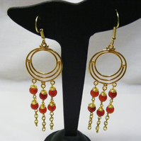 Red Agate Chandelier Earrings