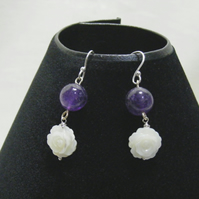 Amethyst and Shell Flower Earrings