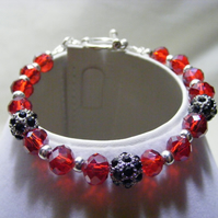 Red Crystal and Black Rhinestone Bracelet