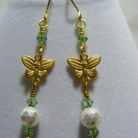 Shell Pearl, Crystal and Butterfly Earrings