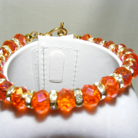 Orange Crystal and Crystal Rhinestone Rondelle Bracelet