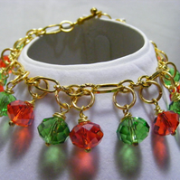 Red and Green Crystal Charm Bracelet
