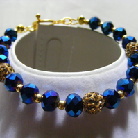 Blue Iris and Gold Pave Bead Bracelet