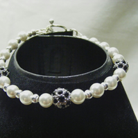 Black Rhinestone and Shell Pearl Bracelet