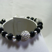 Black and Silver Crystal Bracelet