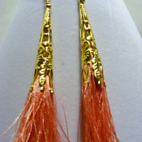 Peach and Gold Tassel Earrings