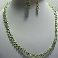 Green and Pink Crystal Jewellery Set