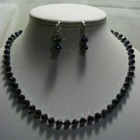 Hematite colour and Pink Crystal Jewellery Set