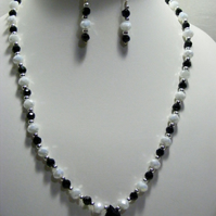 White and Black Drop Crystal Jewellery Set