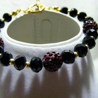 Dark Red Pave Beads and Black Crystal Bracelet
