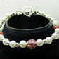 Red Rhinestone  and Shell Pearl Bracelet