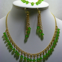 Green Flower Glass Jewellery Set