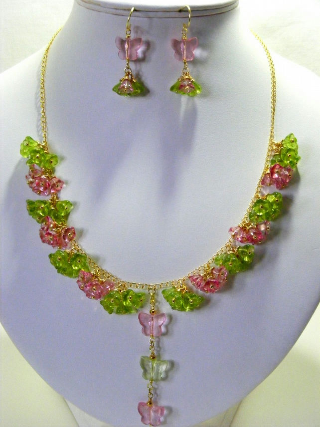 Pink and Green Glass Flower Jewellery Set