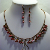Antique Bronze Chain with Red and white Glass flowers Jewellery Set
