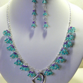 Aqua and Purple Czech Glass Jewellery Set