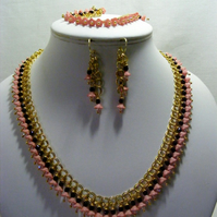 Peach and Brown Flower Jewellery Set
