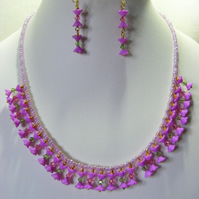 Purple Flower Jewellery Set