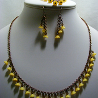 Antique Bronze with Spring Yellow Flowers Jewellery Set