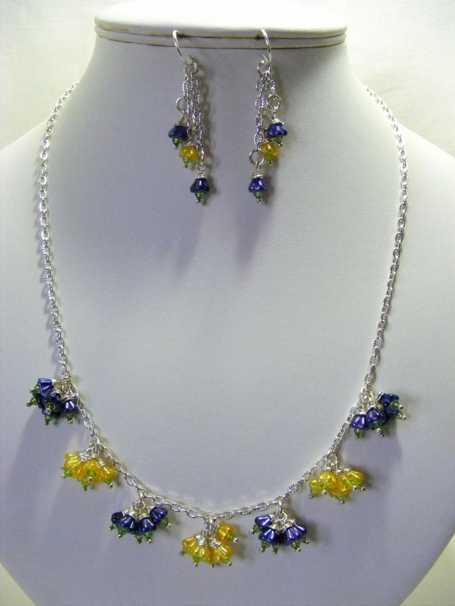 Yellow and Purple Flower Jewellery Set