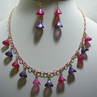 Rose Gold Purple and Fuchsia Flower Jewellery Set
