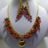 Orange and Purple Czech Glass Flower Jewellery Set