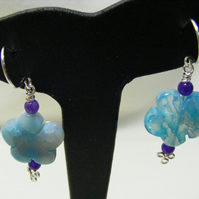 Blue and Purple Gemstone Earrings