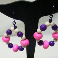 Pink Cream and Purple Hoop Earrings