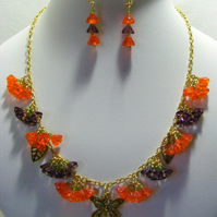 Orange and Purple Flower Jewellery Set