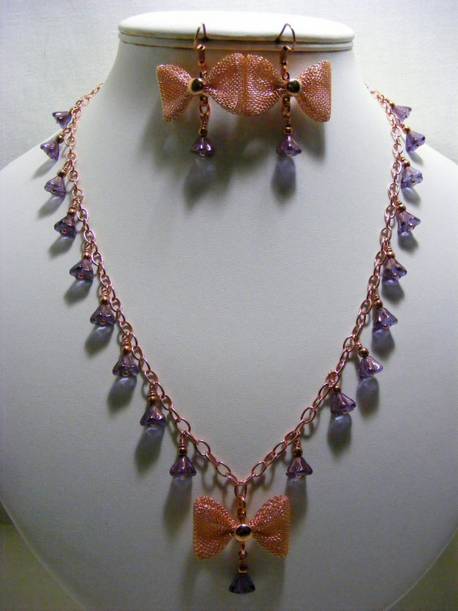 Rose Gold and Amethyst Czech Glass Bell Flower Jewellery Set