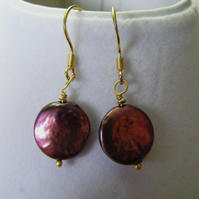 Purple Freshwater Coin Earrings