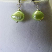 Spring Green Freshwater Pearl Stud Earrings
