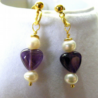 Amethyst Hearts and Freshwater Pearl Stud Earrings