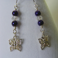 Purple Hematite and Crystal Earrings