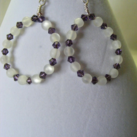 White Polaris and Purple Swarovski Hoop Earrings