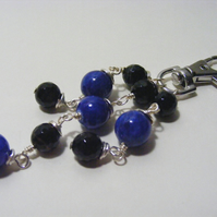 Black Stripe Agate and Blue Quartzite Gemstone Bag Charm
