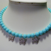 Turquoise Glass Pearl Choker with Butterfly Charms