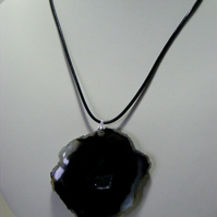 Black Agate Pendant on Leather Thong