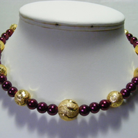 Gold and Wine Pearl Choker