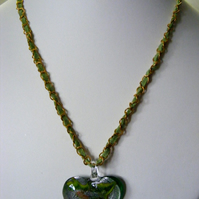 Green Heart Pendant Necklace