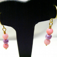 Mother of Pearl and Glass Pearl Earrings