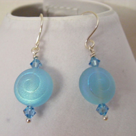 Aquamarine Glass Ammonite Earrings
