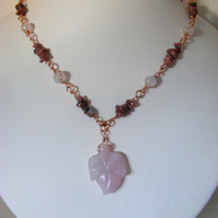 Rose Quartz and Rhodonite Gemstone Necklace