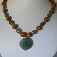 Aventurine and Wood Necklace