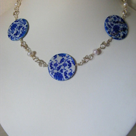 Blue Flower Print Mother of Pearl Necklace