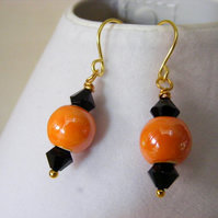 Orange and Jet Earrings