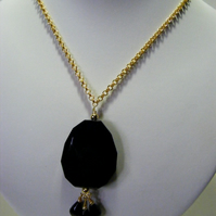 Black Agate Pendant Chain Necklace