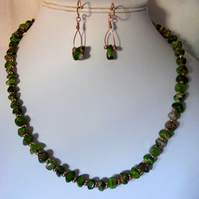 Green Impression Jasper and Rose Gold Jewellery Set